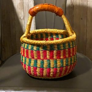 Small real leather handled basket